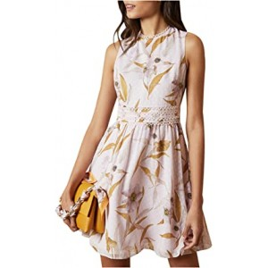 Rontie Cabana Printed Skater Dress Light Pink