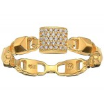 Precious Metal-Plated Sterling Silver Mercer Link Pave Center Ring