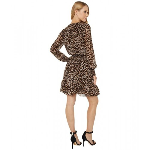 마이클 코어스 Mega Cheetah Ruffle Wrap Dress