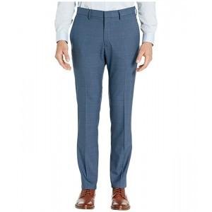 Kenneth Cole Reaction Stretch Sharkskin Plaid Slim Fit Flat Front Dress Pants Blue