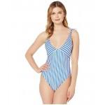 Polo Ralph Lauren Coastal Stripe Off-the-Shoulder Tie Splice Mio One-Piece Cobalt