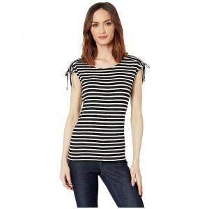 Striped Tie Shoulder Top Black/White Stripe