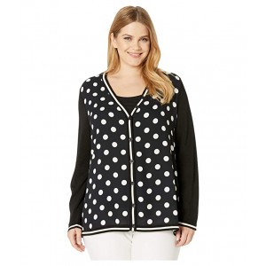 Plus Size Woven Front Cardigan Anne Black/Anna White