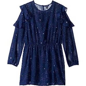 Printed Chiffon Dress (Big Kids) Flag Blue