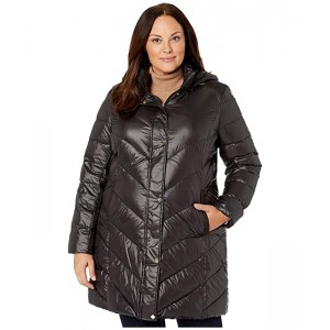 Plus Size 3/4 Chevron Puffer Parka with Removable Hoodie