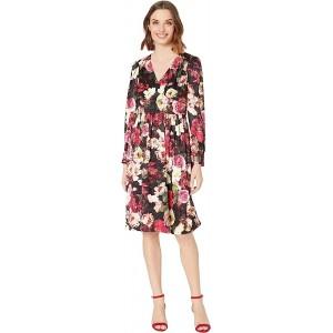 Long Sleeve Floral Print A-Line Dress
