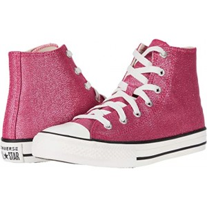 Converse Kids Chuck Taylor All Star Summer Sparkle - Hi (Little Kidu002FBig Kid) Cerise Pink/Natural Ivory/Vintage