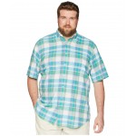 Big & Tall Madras Short Sleeve Sport Shirt Turquoise/Green