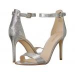 Mana Stiletto Heel Sandal Silver Etched Metallic PU