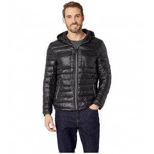 Double Chest Pocket Puffer with Hood Jacket Black