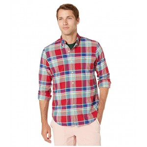 Classic Fit Plaid Oxford Shirt Red Multi