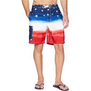 Watercolor Flag Ombre Kailua Swim Trunk Watercolor Red/White/Blue Ombre