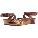 Lola Flower Frill Brown Textile/Leather
