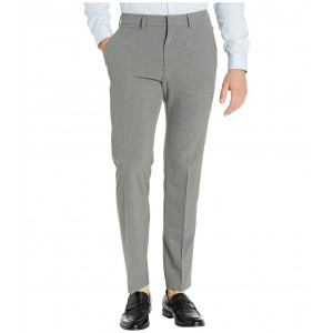 Stretch Pinstripe Slim Fit Flat Front Dress Pants Dark Grey