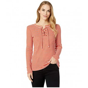 Cut Out Lace-Up Top Bright Terra Cotta/White