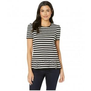 Stripe Puff Sleeve Ruffle Top Black/White