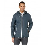 Hooded Button Front Rain Jacket Navy
