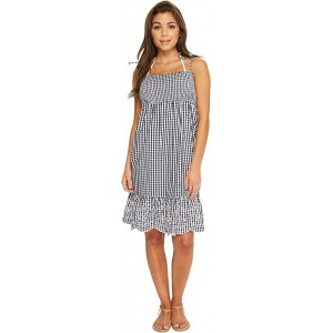 Gingham Beach Dress Cover-Up Tory Navy/White
