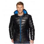 Faux Leather Faux Down Jacket Black/Blue