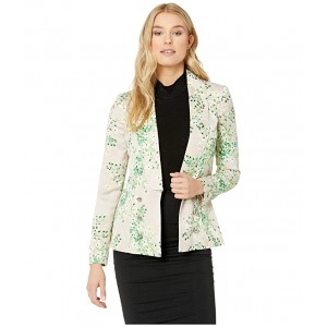 Floral Shawl Collar Open Soft Jacket Khaki Multi