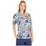 Summer Ease Popover Tunic Nocturnal Wispy Bamboo Print