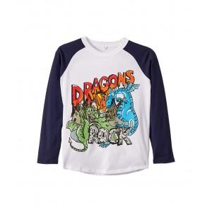 Dragons Rock Raglan Long Sleeve T-Shirt (Toddler/Little Kids/Big Kids) Black/White