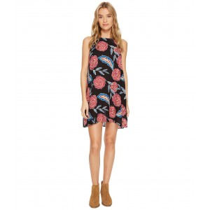Sunburnt Land Woven Dress Anthracite Mexican Roses