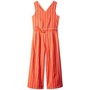 Sleeveless Open Back Jumpsuit (Toddler/Little Kids/Big Kids) Orange Stripe