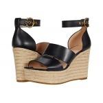 COACH Isla Wedge Sandal Black Smooth Leather