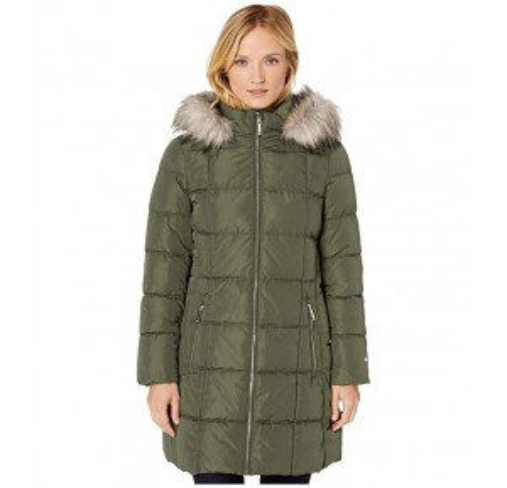35 Square Puffer w/ Faux Fur Hood Army Green