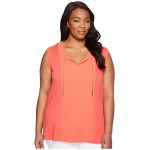 Plus Size Short Sleeve Woven Panel Chain Tie Sangria