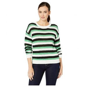 Long Sleeve Stripe Color Block Crew Neck Sweater Pearl Ivory