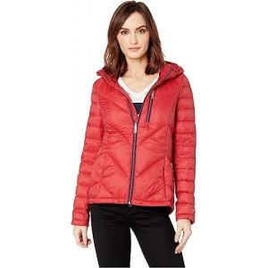 Packable Down Hooded Zip Front Jacket Crimson