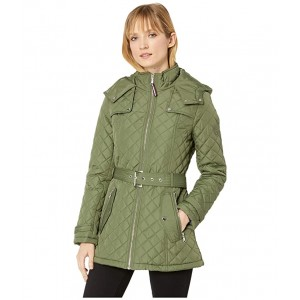 Belted Quilted Coat Clover