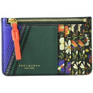 Perry Mixed-Print Top Zip Card Case Sacred Floral