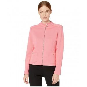 Zip Front Pique Scuba Jacket Rose