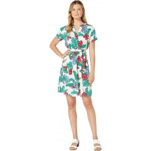 Palm Floral Shirtdress w/ Sash & Elastic Waist Ivory/Grapefruit Multi