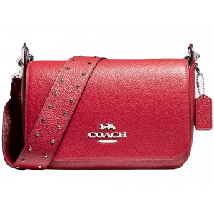 Pebbled Leather Small Jes Messenger w/ Border Rivets Strap Bright Cardinal