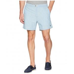 Chambray Prepster Elastic Waist Shorts Chambray