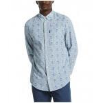 Original Penguin Linen Blend Tonal Palm Print Long Sleeve Button-Down Shirt Bright White