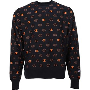 Champion Reverse Weave Crew - Tossed C Logos All Over Print C Logo Spaced Navy