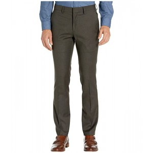 Stretch Micro Check Houndstooth Skinny Fit Flat Front Dress Pants