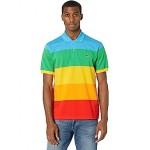 Short Sleeve Color-Blocked Rainbow Polaroid Polo