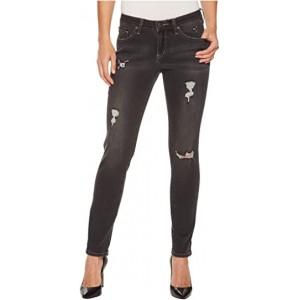 Carter Girlfriend Crosshatch Denim Jeans Dark Grey