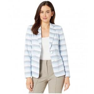 Notch Collar Two-Button Stripe Jacket Denim Multi