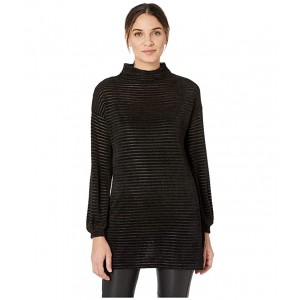 Funnel Neck Tunic Long Sleeve Knit Top Black