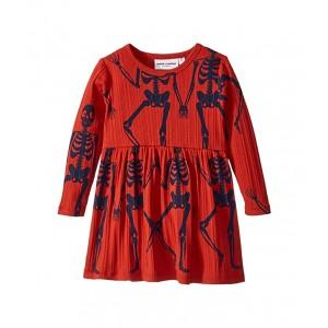 Skeleton All Over Print Long Sleeve Dress (Infant/Toddler/Little Kids/Big Kids) Red
