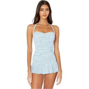 Bengal Stripe Twist Front Shirred Underwire Skirted One-Piece Swimsuit