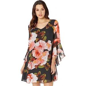 Cascading Sleeve V-Neck Shift Dress Black/Papaya