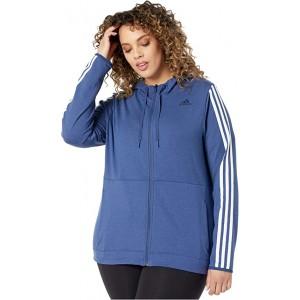 adidas Plus Size 3 Stripe Training Full Zip Hoodie Jacket Tech Indigo